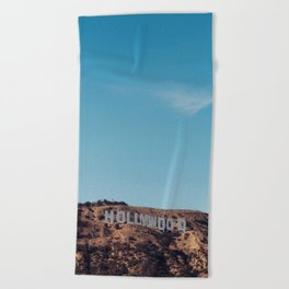 Vintage Retro Hollywood Sign Los Angeles California Colored Wall Art Print Beach Towel