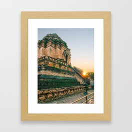 Sunset over Buddhist Temple in Chiang Mai Fine Art Print Framed Art Print