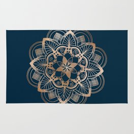 Lotus metal mandala on blue Rug