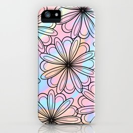 Pink teal watercolor black hand drawn floral iPhone Case
