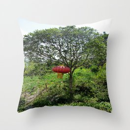 Small Red Lantern Throw Pillow