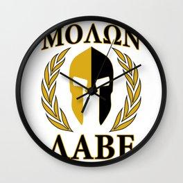 Molon labe golden lau Wall Clock