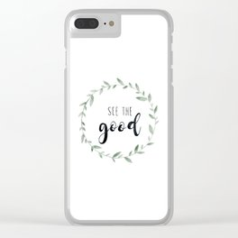 See the Good, Watercolor, Floral Leaf Wreath Clear iPhone Case