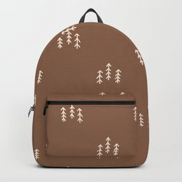 Seamless background forest trees gender neutral baby pattern. Backpack