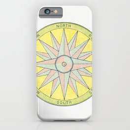 Mariners compass from Coloured Handbook To Kindergarten Geography Etc iPhone Case