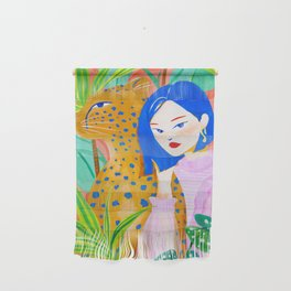 Short Hair Girl and Leopard in Garden Wall Hanging