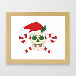 Creepy Christmas Santa Skull Framed Art Print