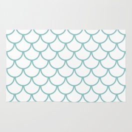 Chalky Blue Fish Scales Pattern Rug