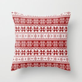 Red Winter Fair Isle Pattern Throw Pillow