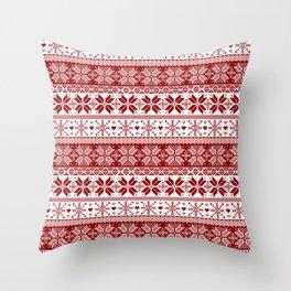 Red Winter Fair Isle Pattern Throw Pillow