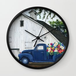 Flower Farm Truck Wall Clock