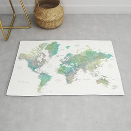 Watercolor world map in muted green and brown Rug