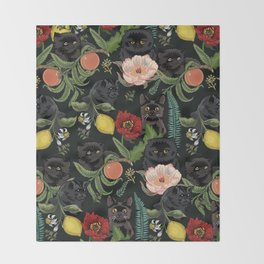 Botanical and Black Cats Throw Blanket