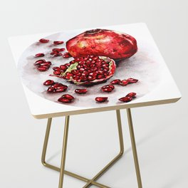 Red pomegranate watercolor art painting Side Table