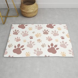 Abstract print. Cat's paws on a white background. Animal tracks Rug