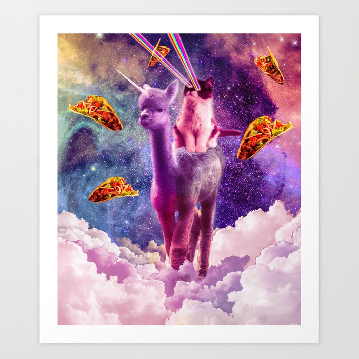 Cosmic Cat Riding Alpaca Unicorn Art Print