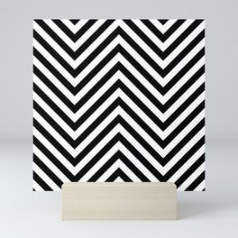 Jumbo Black and White Chevron Stripe Pattern Mini Art Print
