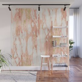 Rose Gold Marble - Rose Gold Yellow Gold Shimmery Metallic Marble Wall Mural