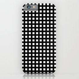Horizontal and vertical lines. Grid stripes. Geometric pattern. Minimalism. Black and white. iPhone Case