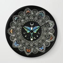 Lunar Moth Mandala with Background Wall Clock