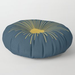 Mid-Century Modern Sunburst II in Light Mustard and Navy Blue Floor Pillow