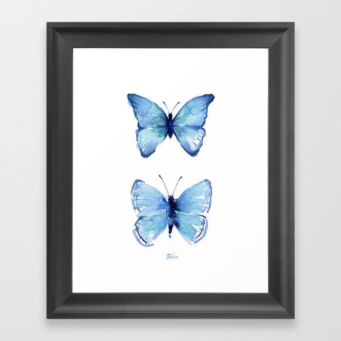 Two Blue Butterflies Watercolor Gerahmter Kunstdruck