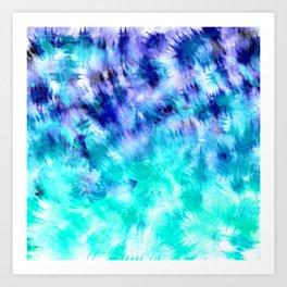 modern boho blue turquoise watercolor mermaid tie dye pattern Art Print
