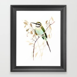 White-Throated Bee-Eater, Sage green, brown, teal green brown room design Framed Art Print