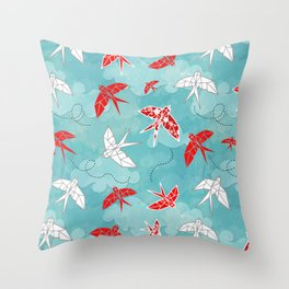 Origami Swallow Throw Pillow