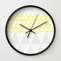 triangles Wall Clocks featuring Triangles by Dream Of Forest