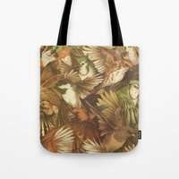 red Tote Bags featuring Red-Throated, Black-capped, Spotted, Barred by Teagan White