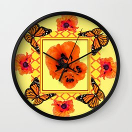 WESTERN ORANGE POPPIES & BUTTERFLIES  YELLOW ART DESIGN Wall Clock
