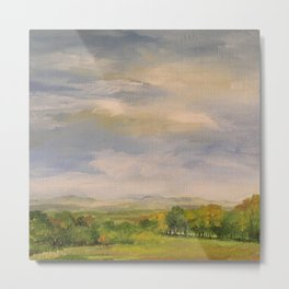Scenic Autumn Late Afternoon in Vermont Nature Art Landscape Oil Painting Metal Print