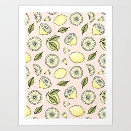 Lemons on Pink Art Print