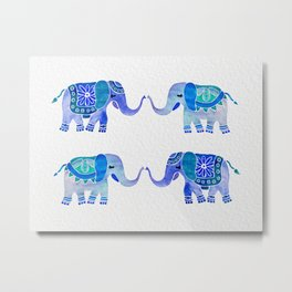 HAPPY ELEPHANTS - WATERCOLOR BLUE PALETTE Metal Print