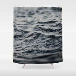 Ocean Magic Black and White Waves Shower Curtain