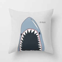 Veggie Shark — Poster, scandinavian, art, art print, drawings, paintings, sea, fish, shark, water Throw Pillow