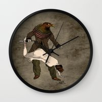 birdman Wall Clocks featuring The Birdman (after Max Ernst) by David Procter