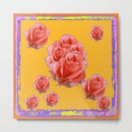 Peachy-Pink Tea Roses Orange-Lilac Art Metal Print