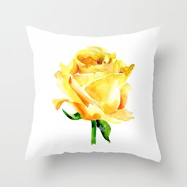 Single Yellow Rose Watercolour Painting Throw Pillow