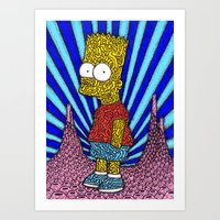 simpson Art Prints featuring Bart Simpson by OKAINA IMAGE