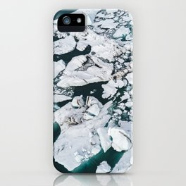Icelandic glacier icebergs from above - Landscape Photography iPhone Case