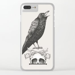 Black Crow & Skull Clear iPhone Case