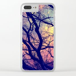 Black Trees Deep Pastels Space Clear iPhone Case