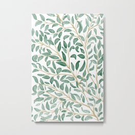 Green Leaf Pattern Metal Print