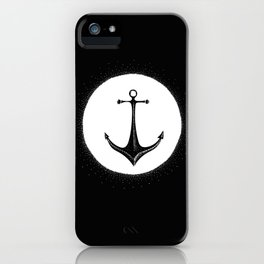Anchor Point (white on black) iPhone Case