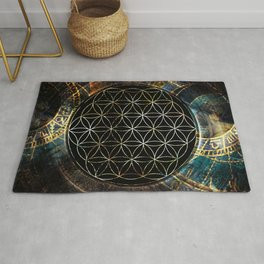 Flower of Life and Zodiac in Cosmic Space Rug