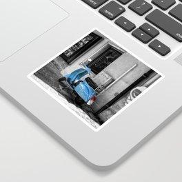 Blue Vespa in Venice Black and White Color Splash Photography Sticker