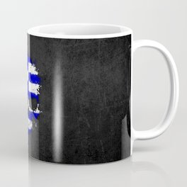 Flag of Greece on a Chaotic Splatter Skull Coffee Mug