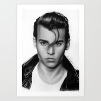 johnny depp Art Prints featuring Johnny Depp by Art by Ana Mendes